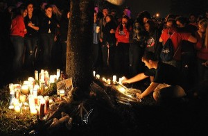 Students gathered for Candlelight Vigil for Zach Courtesy D'Ann White